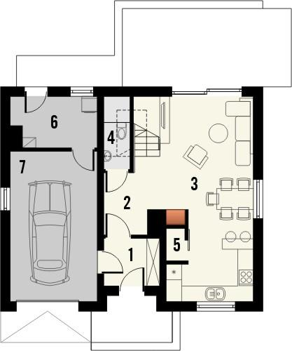 Projekt domu Iskra - rzut parteru