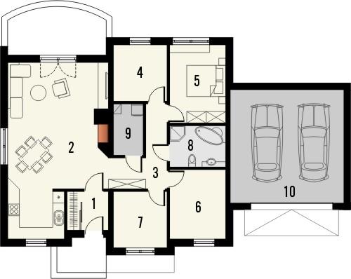 Projekt domu Figaro 2G - rzut parteru