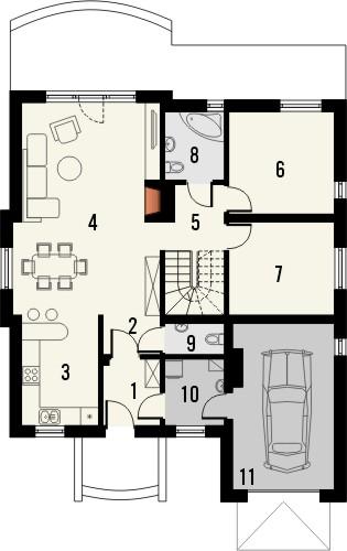 Projekt domu Lapis 2  - rzut parteru