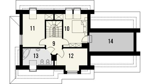 Projekt domu Orzech 2G - rzut poddasza