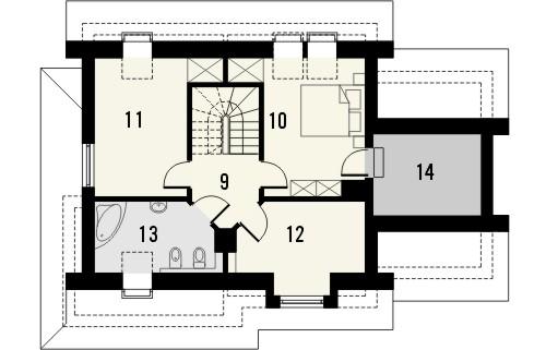 Projekt domu Orzech - rzut poddasza