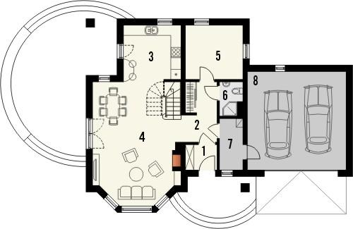 Projekt domu Piano 2G - rzut parteru