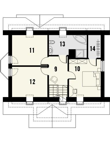 Projekt domu Roma - rzut poddasza