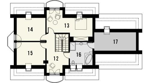 Projekt domu Szmaragd 2G - rzut poddasza