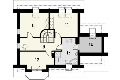 Projekt domu Piano - rzut poddasza