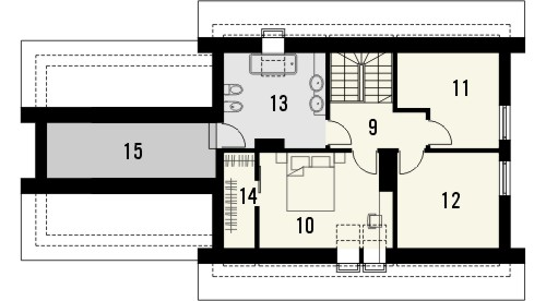 Projekt domu Gradient 2G - rzut poddasza