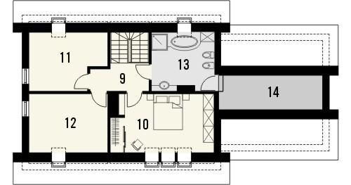 Projekt domu Ideal 2G - rzut poddasza