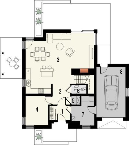 Projekt domu Maestro - rzut parteru