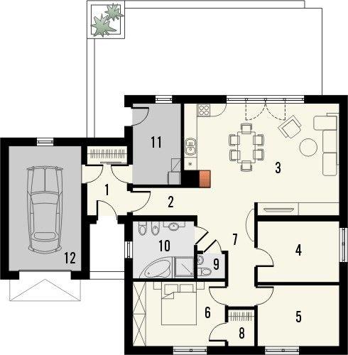 Projekt domu Mambo - rzut parteru