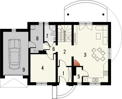 Projekt domu Granat - rzut parteru