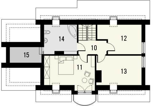 Projekt domu Granat - rzut poddasza