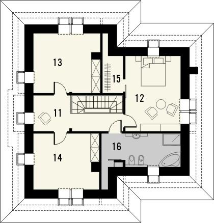 Projekt domu Amalfi 2 - rzut poddasza