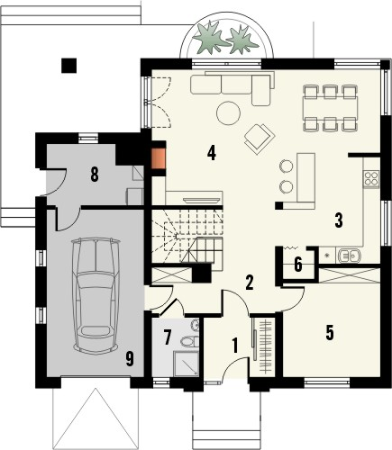 Projekt domu Amfilada 2 - rzut parteru