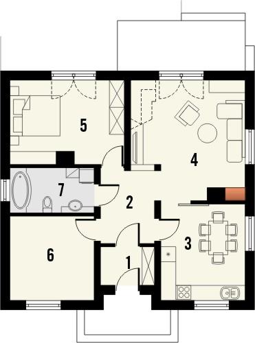 Projekt domu Kamyczek 2 - rzut parteru
