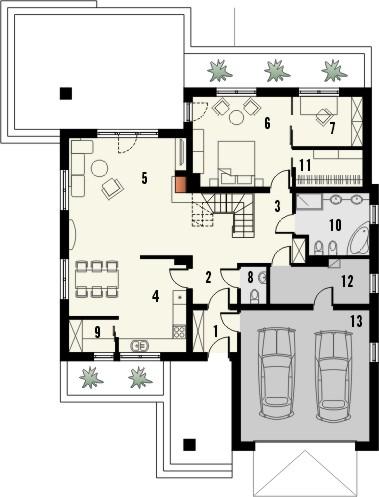 Projekt domu Melodia 2 - rzut parteru