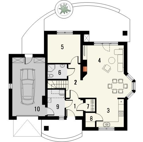 Projekt domu Mokka 2 - rzut parteru