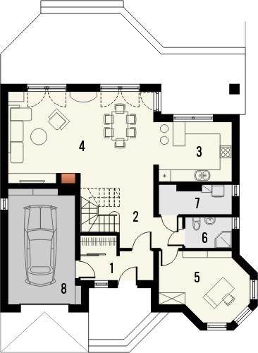 Projekt domu Viva 2 - rzut parteru