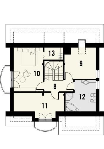 Projekt domu Nowela 3 - rzut poddasza