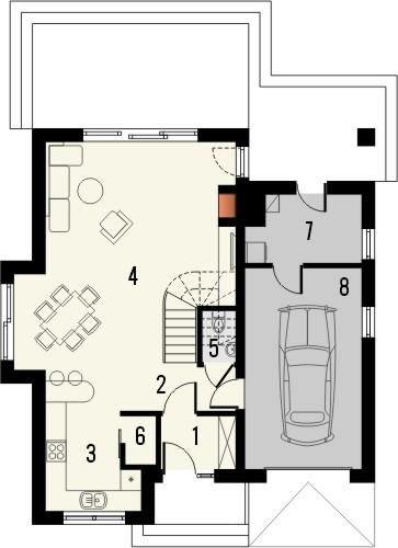 Projekt domu Bella 4 - rzut parteru