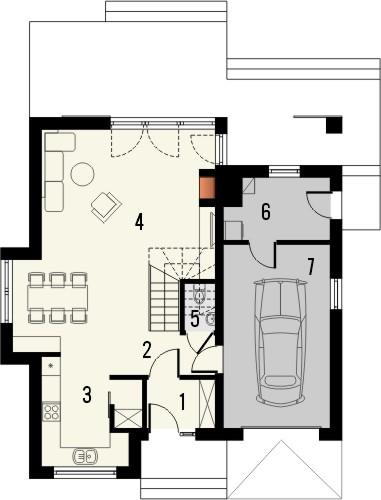 Projekt domu Bella 6 - rzut parteru