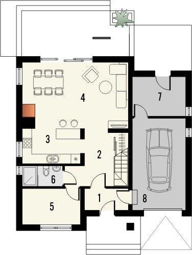 Projekt domu Salsa 2 - rzut parteru