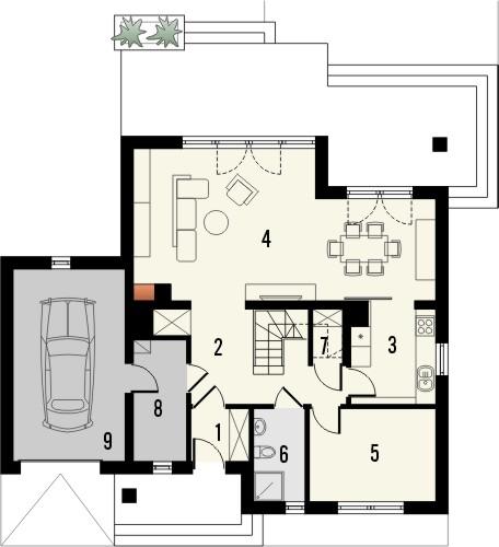Projekt domu Laguna 3 - rzut parteru
