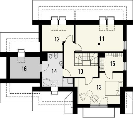 Projekt domu Laguna 3 - rzut poddasza