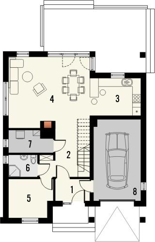 Projekt domu Klasyka 4 - rzut parteru