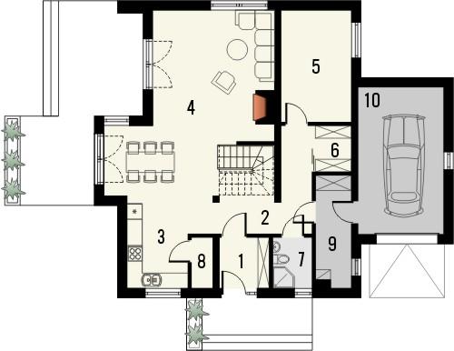 Projekt domu Rozalin 2 - rzut parteru