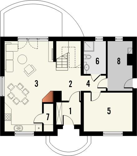 Projekt domu Cekin - rzut parteru
