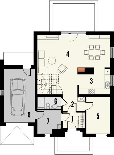 Projekt domu Galena - rzut parteru
