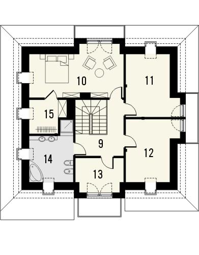 Projekt domu Ikebana 2 - rzut poddasza