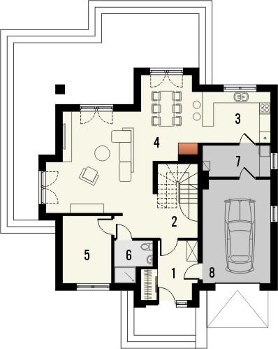 Projekt domu Ikebana 3 - rzut parteru