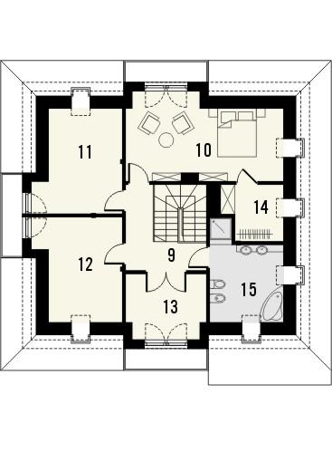 Projekt domu Ikebana 3 - rzut poddasza