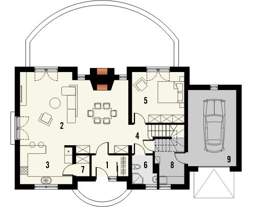 Projekt domu Amaretto 2 - rzut parteru