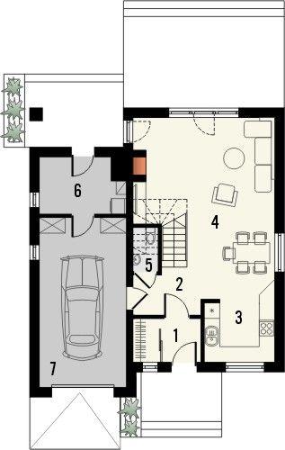 Projekt domu Absolwent 2 - rzut parteru