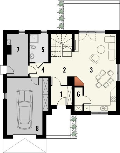 Projekt domu Opuncja - rzut parteru