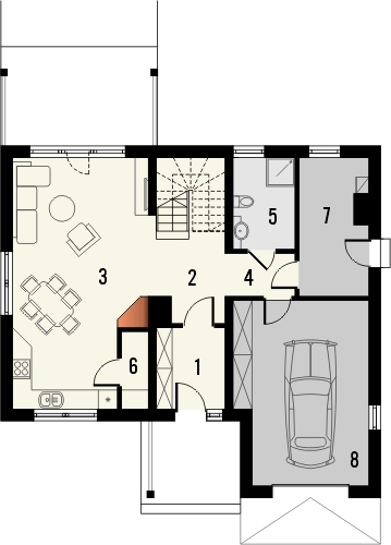 Projekt domu Słowianin - rzut parteru