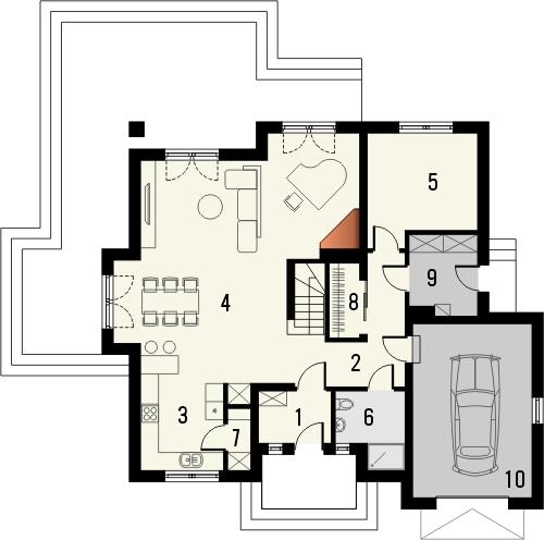 Projekt domu Meritum 3 - rzut parteru