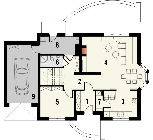 Projekt domu Wicher - rzut parteru