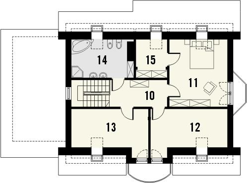 Projekt domu Wicher - rzut poddasza