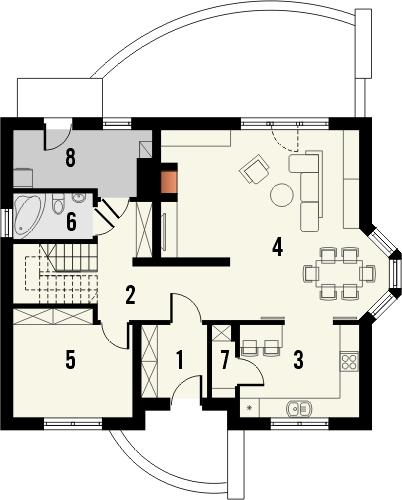 Projekt domu Wicher 2 - rzut parteru