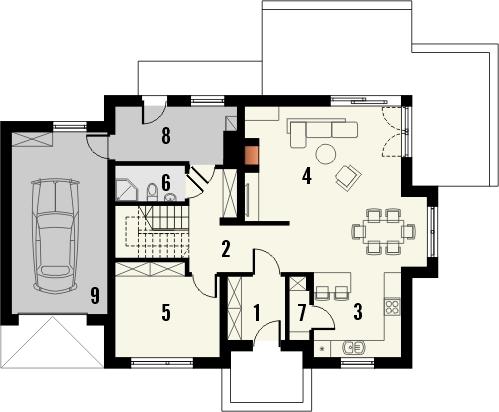 Projekt domu Komfort - rzut parteru