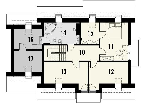 Projekt domu Komfort - rzut poddasza