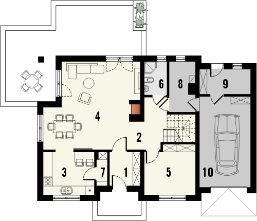 Projekt domu Pryzmat - rzut parteru