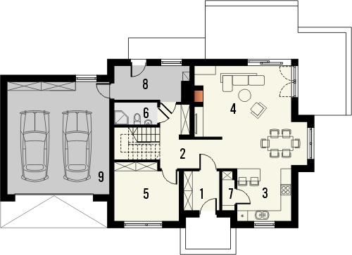 Projekt domu Komfort 2g - rzut parteru