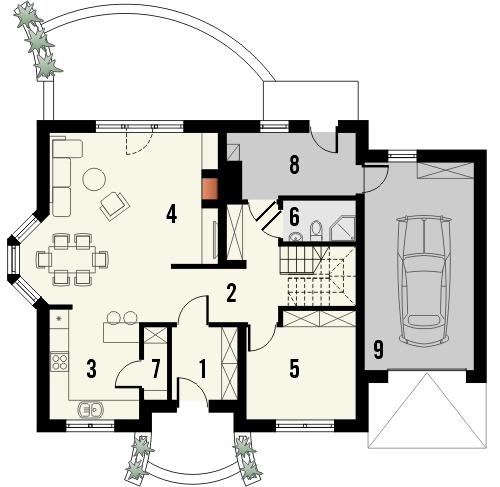 Projekt domu Frykas - rzut parteru