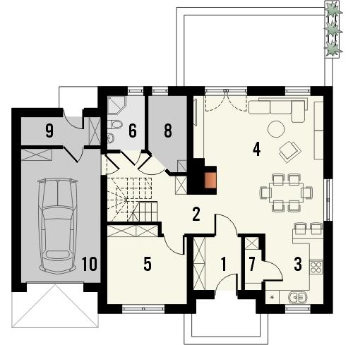 Projekt domu Kolia - rzut parteru