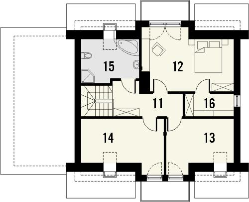 Projekt domu Kolia - rzut poddasza