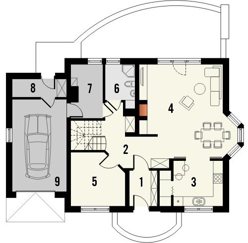 Projekt domu Sosna - rzut parteru